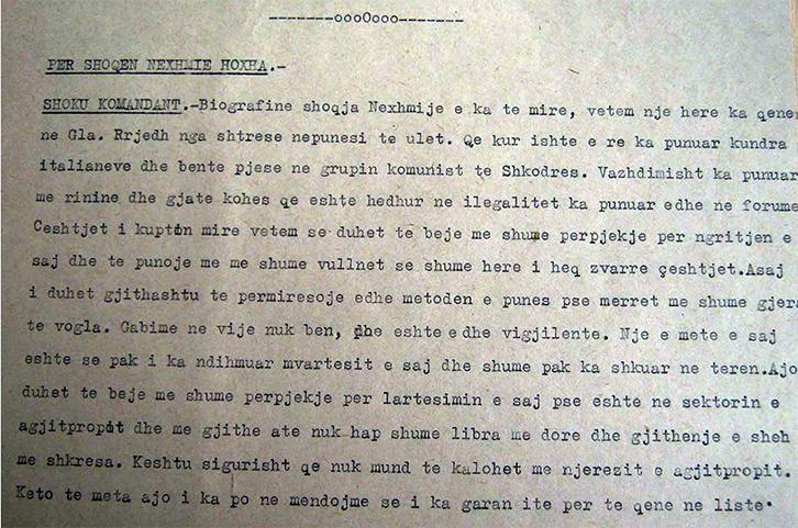 DOKUMENTI/ Enver Hoxha më 1952: Nexhmija biografinë e ka të mirë, vetëm një herë ka qenë fashiste