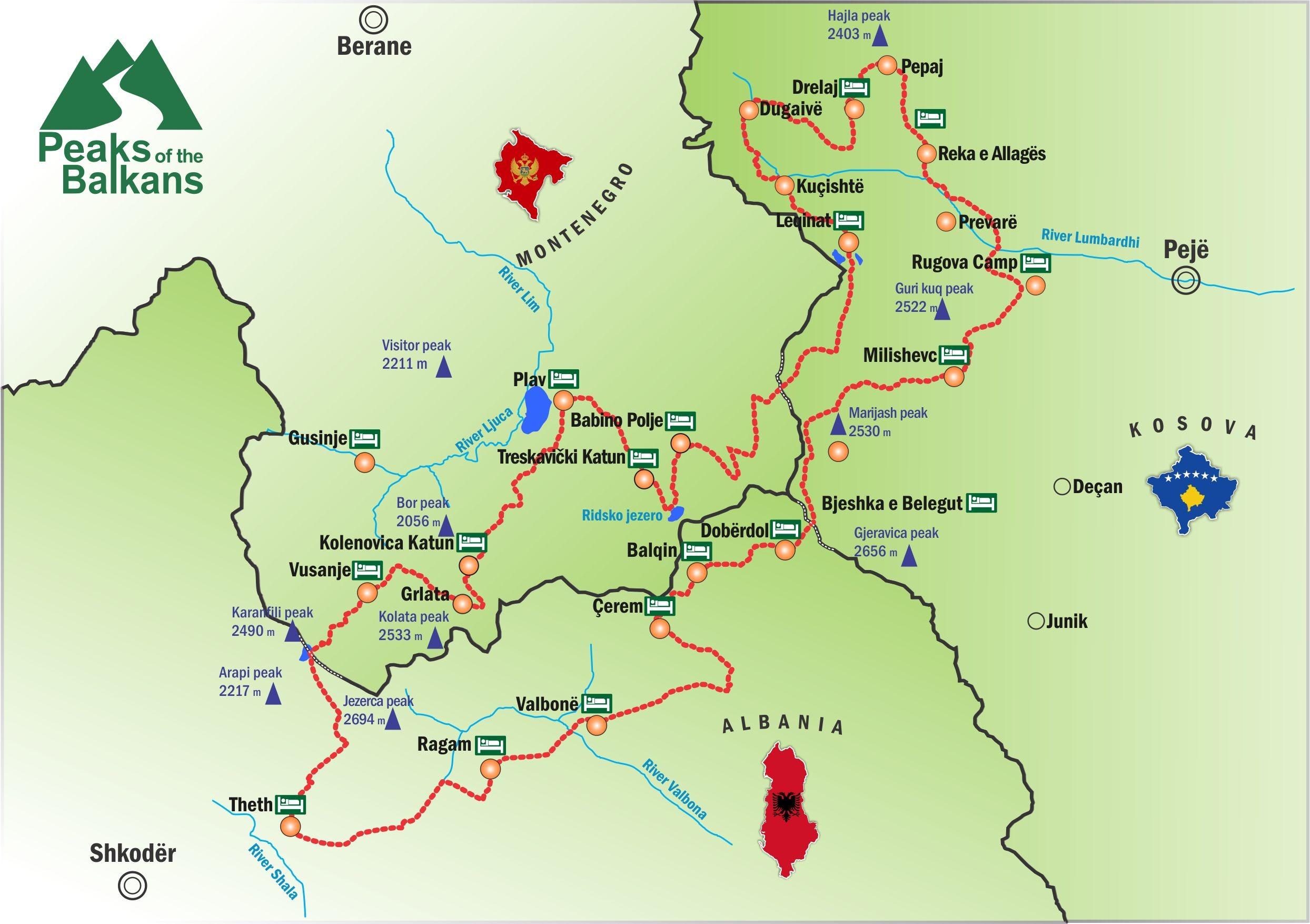 """Harta e shtegut 'Majat e Ballkanit"""""""
